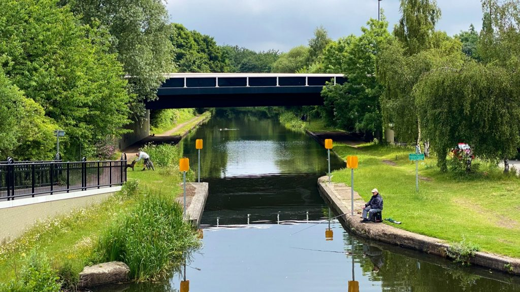 Fishing and walking on the sheffield canal